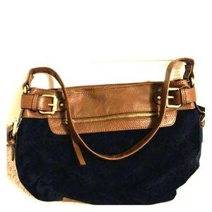 Navy suede brown leather handbag